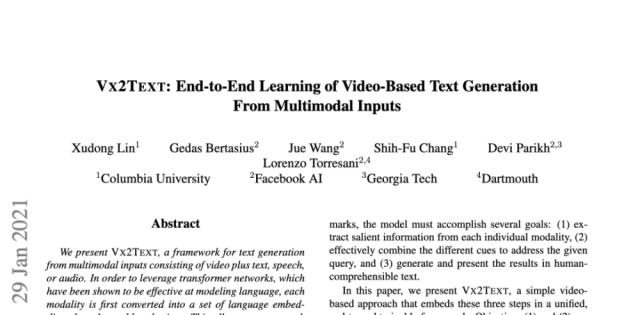 Facebook&哥大等推出实验性AI框架,音视频信息可自由转换文本!