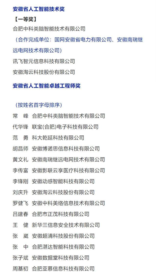 安徽人工智能企业(合肥央企名单)